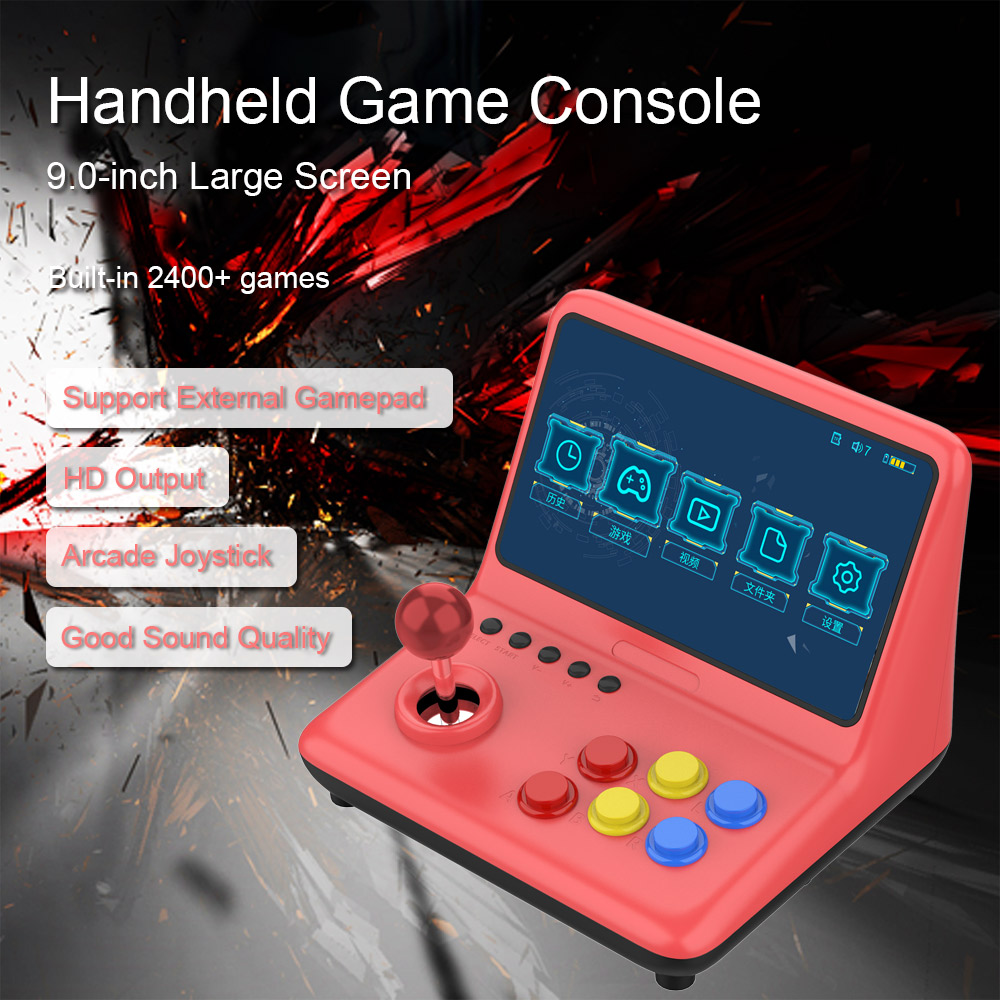 Hot Sale Video Game Console Handheld Game Player Arcade Joystick +2400 Games 9.0 inchs Music Video Player HD Wired Gamepad