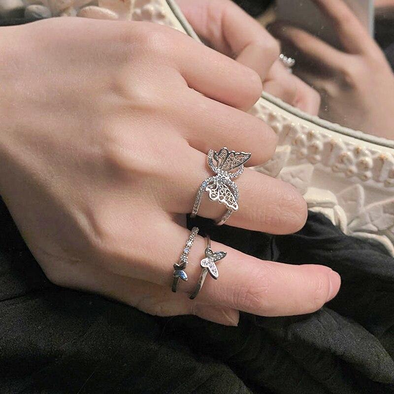 Новые Кольца с кристаллами в виде бабочки для женщин и девушек, Простые открытые Регулируемые кольца с блестящими бабочками, модные ювелирн...