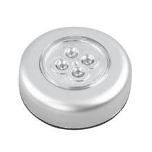 4-LED Touch Control Night Light Round Lamp Under Cabinet Closet Push Stick On Lamp Home Kitchen Bedroom Automobile Use