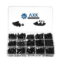 AXK 500Pcs/box Black M3/M4/M5 12.9 Grade Carbon Steel Hex Socket Head Cap Screw Nuts Furniture Fastener Assortment Kit