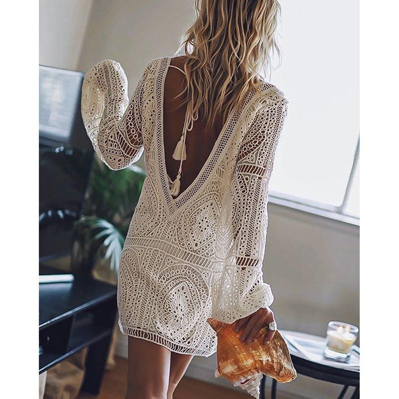 Ordifree 2019 Summer Women Beach Dress White Lace Boho Mini Dress Long Sleeve Sexy Backless Dress