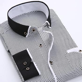 Business Men Blouse Shirt Top Dot Plaid Print Turndown Collar Shirt Long Sleeve Button Shirt Blouse Top Fashion New Men Clothing turndown collar tartan print shirt
