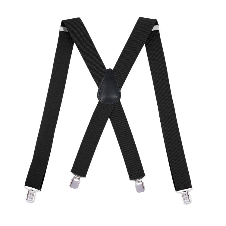 Cross Border Supply Of Goods Elastic 4 Clip Adjustable Men's, Black Adult Suspender Strap Currently Available X Type Strong Clip