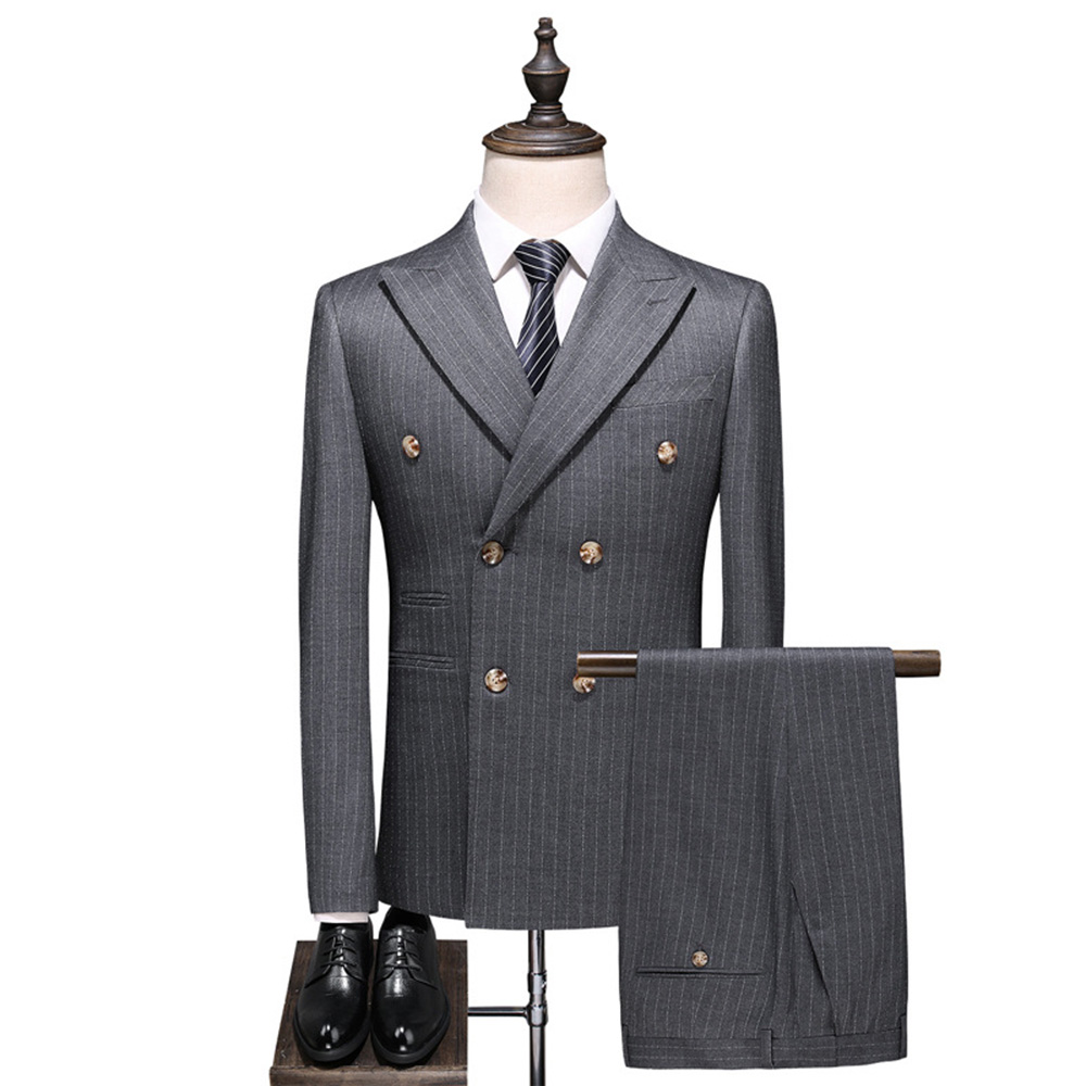 Dressv Gray Stripe Men Suit Double-Breasted Blazers Retro Gentleman Style Tailor Made Slim Fit Wedding Suits For Men 3 Piece Man
