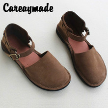 Careaymade-Retro leisure Genuine Leather womens sandals,pure handmade comfortable slip-proof breathable round-headed sandals