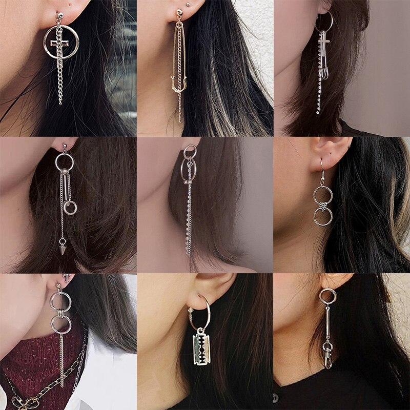New popular Simple Asymmetric Metal Style Earrings For Women Chain Tassel Pin Cross Blade Zipper Pendant Earring Charm Jewelry