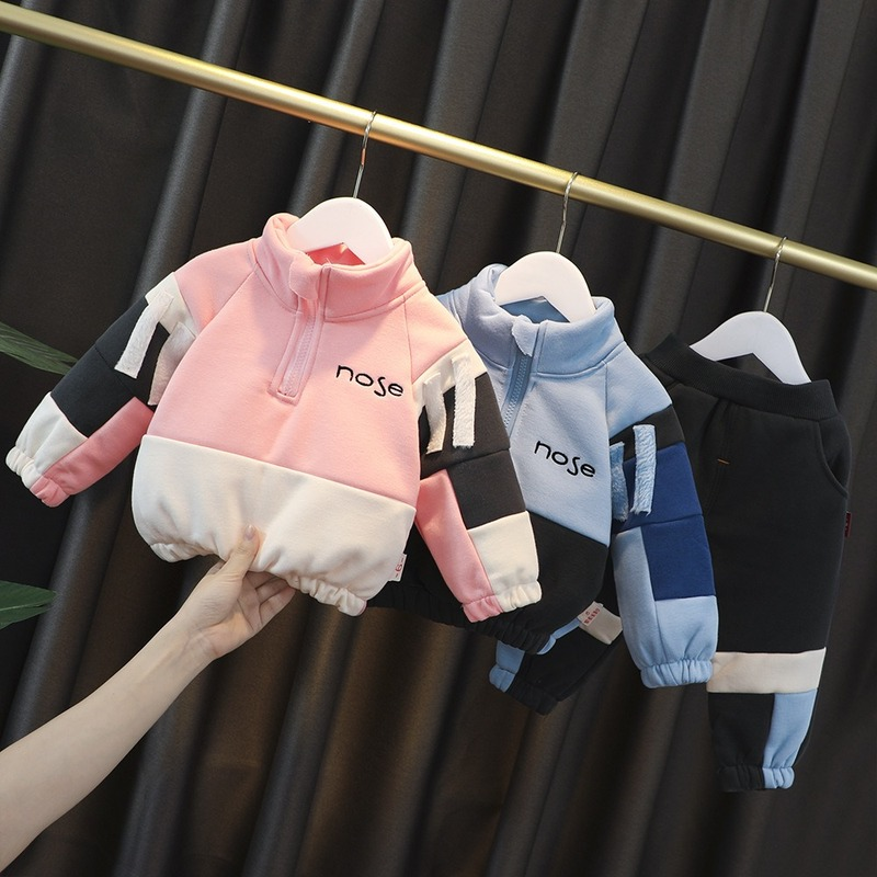 Kid Girl Boy Clothes Toddler Tracksuit 0-4 Years Winter Thickened 2 Pieces Costume for Baby Children's Clothing Plus Velvet Suit 3