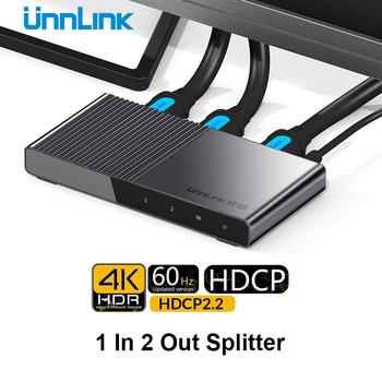 Unnlink z wejściem HDMI 2 0 Splitter 1X2 UHD 4K 60HZ 4 4 4 18 gb s HDR HDCP 2 2 3D dla LED Smart TV przystawka MI TV Box ps4 przełącznik konsoli xbox tanie i dobre opinie Kobiet-Kobiet NONE HDMI 2 0 Splitter CN (pochodzenie) KABLE HDMI HDMI 2 0b Pakiet 1 KARTONOWE PUDEŁKO Połączenie HDMI2 0