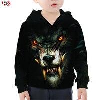 Lone Wolf Hoodie Boy Girl 3D Print Wolf Head Hoodies Children's Sweatshirt Casual Family Fitted Kids Streetwear Tops S488