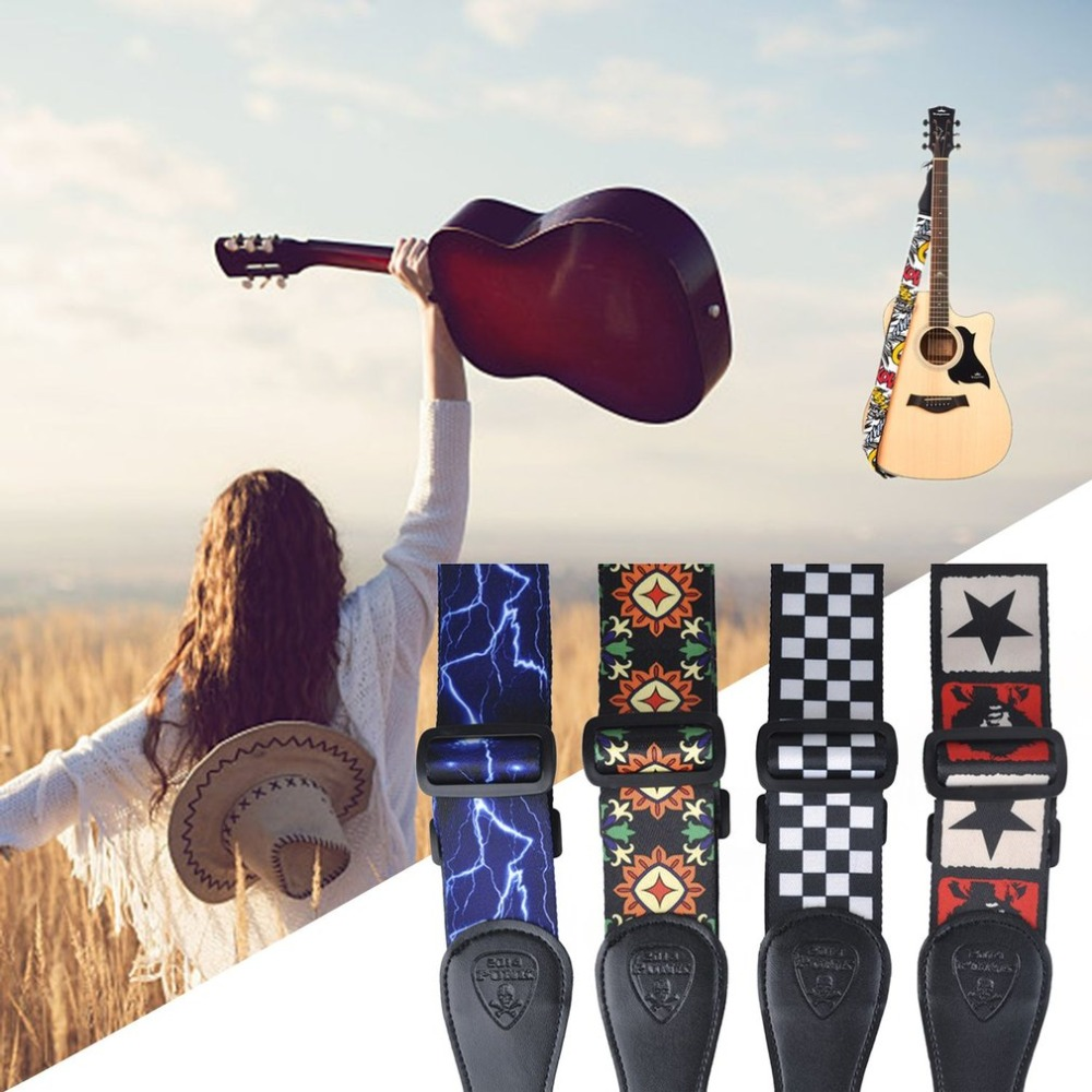 Vintage Flowers Stripes Acoustic Electric Guitar Strap Woven Embroidery Fabrics Leather Ends Strap  Guitar Accessories