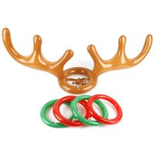 1set Inflatable Santa Funny Reindeer Antler Hat Ring Toss Indoor Outdoor Family Interactive Game Toy Children's Christmas Gift