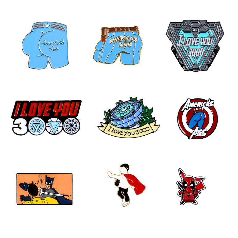 QIHE JEWELRY Hero theme enamel pins I LOVE YOU 3000 Captain ass brooches badges Dream of saving the world Heroism friends gifts image