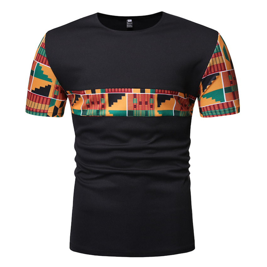 2020  African Bazin Lace Men Tops Muscle Fashion Patchwork Casual African Clothes Dashiki Print Short Sleeve Tops Ankara Plus