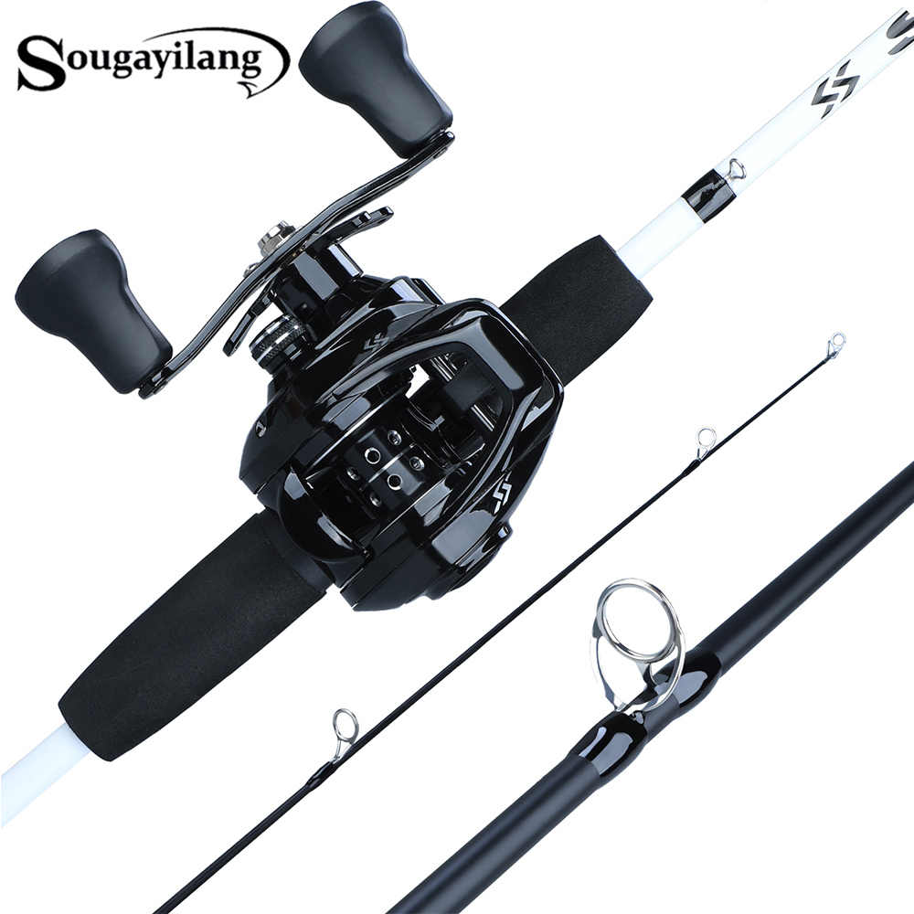 Sougayilang 1.75m Fishing Rod Combo 3 ส่วนคาร์บอนตกปลา Rod กับ 12 + 1BB Baitcasting Reel Fishing Tackle ชุด Pesca