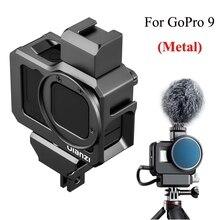 Ulanzi metalowa klatka dla GoPro Hero 9 aluminiowa obudowa ramowa 2 zimne buty zamontuj 52mm pierścień adaptera filtra dla Gopro 9 akcesoria
