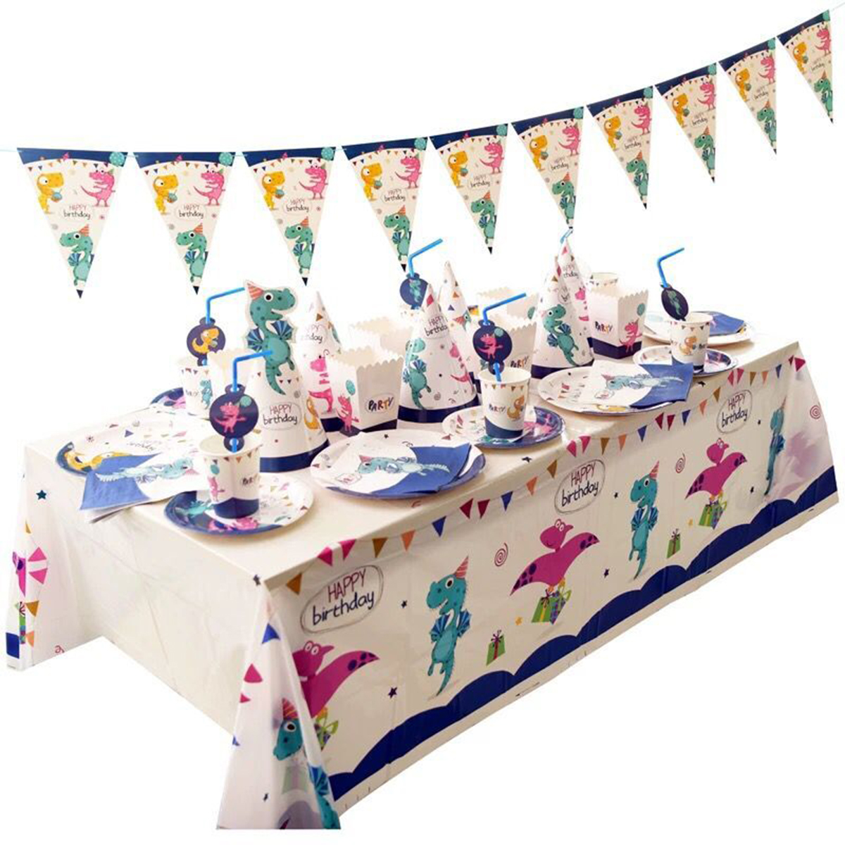 2019 Dinosaur Themed Dinnerware Set Kids Birthday Party Supplies Plastic Knives Spoons Forks Paper Plates Cups, Serves 16 Guests