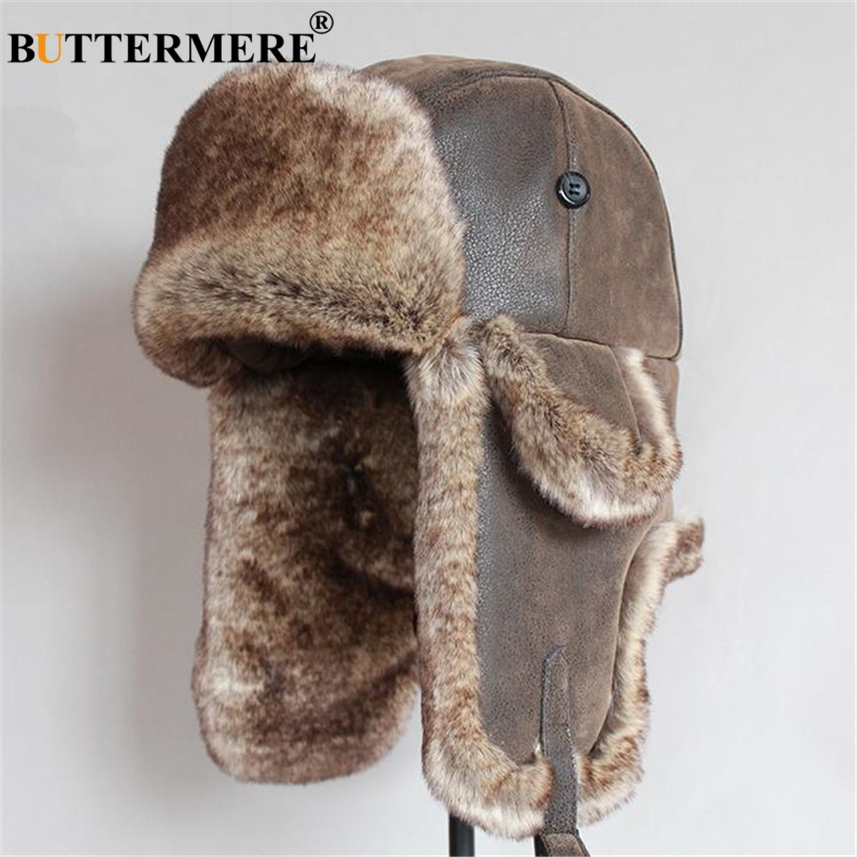 BUTTERMERE Leather Mens Bomber Hat Fur Winter Soviet Ushanka Russian Brown Warm Ski Cycling Earflap Male Trapper