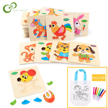 Baby Toys Tangram Intelligence Puzzle Jigsaw-Gifts Shapes Animal Wooden 3d Kids Educational