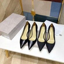 2021 nuova primavera di grandi dimensioni 33-42 tacchi alti da donna scarpe in vera pelle pompe di marca di lusso scarpe di vendita calde tacchi a spillo pompe