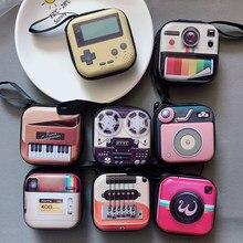 Porte-monnaie rétro style appareil photo, porte-clés de sac pour femmes, mini porte-monnaie, casque bluetooth, porte-clés de sac