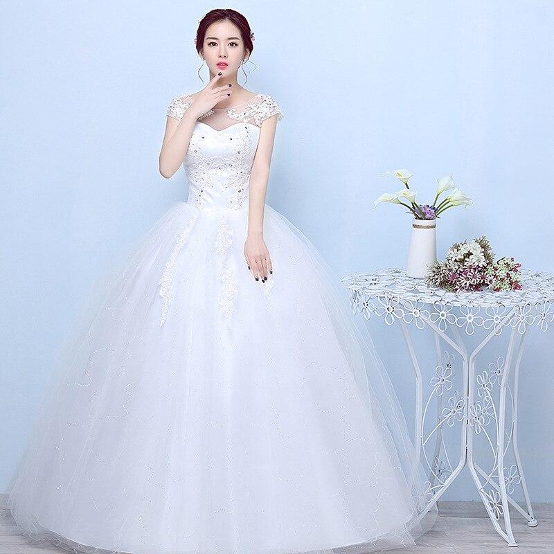 Wedding Dress Short Sleeve O-neck Ball Gown Off White Vestido De Noiva Princess Simple Plus Size Wedding Dresses Bride Gown