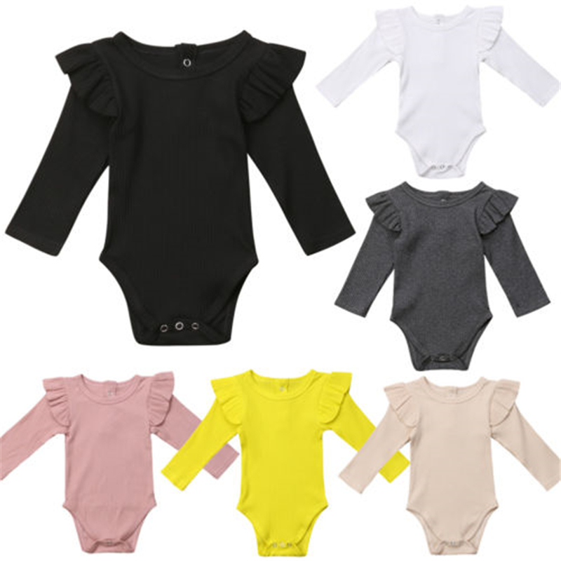 US STOCK Baby Girls Jumpsuit Romper Bodysuit Toddler Long Sleeve Cotton Outfits