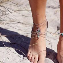 Европейская и американская мода запчасти Универсальный популярный Ретро Многослойная цепь выдалбливают бирюзовые капли воды ножной браслет