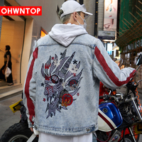 2020 Men Hip Hop Jacket Streetwear Embroidery Dragon Denim Jacket Graffiti Harajuku Oversize Red Striped Denim Jacket Coat Stree