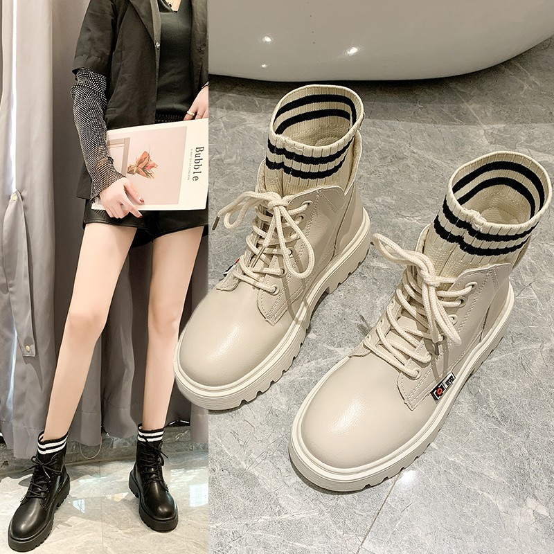 Martin Boots Women's British-Style Short Boots 2019 Autumn And Winter New Style Autumn Boots Network Red Socks Boots Versatile P