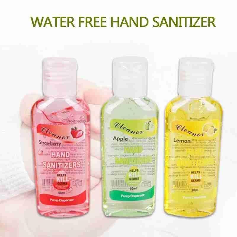 60ml Fruit Flavour Hand Sanitiser Antibacterial Hand Wash Gel Strawberry /Apple/Lemon Portable Hand Sanitizer Waterless Cleaner