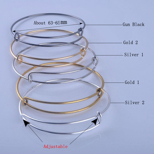 Image 2 - 100pcs Hot Sale Metals Gold color Silver color DIY Bangle for Beads or Charms Adjustable Expandable Wire Bracelets Bangles