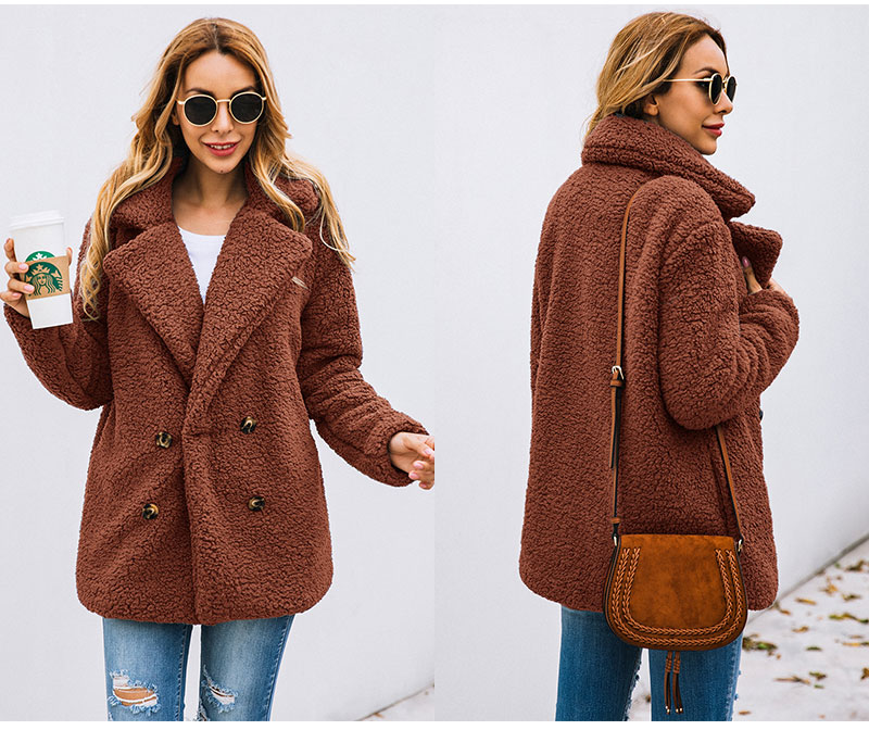 H807c8fa2b2974360ae8101c2bc1f2c73h Lossky Women Long Sleeve Autumn Winter Thick Warm Jacket Coats Plus Size Loose Button Pocket Pink Lady Plush Flannel Overcoat