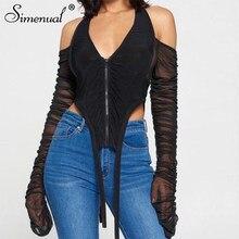 Simenual Zipper Ruched Mesh gorąca, seksowna Crop topy z dekoltem typu Halter dla kobiet jesień 2020 moda z długim rękawem Backless V Neck asymetryczny Top