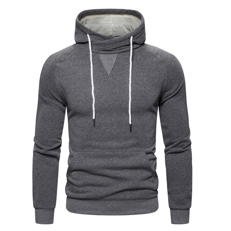 2019 New Autumn Winter Cotton Hoodied Mens Sweatshirts Solid Hoody Fleece Thick Hoodies Men Sportswear Zipper Sweatshirts Men 21