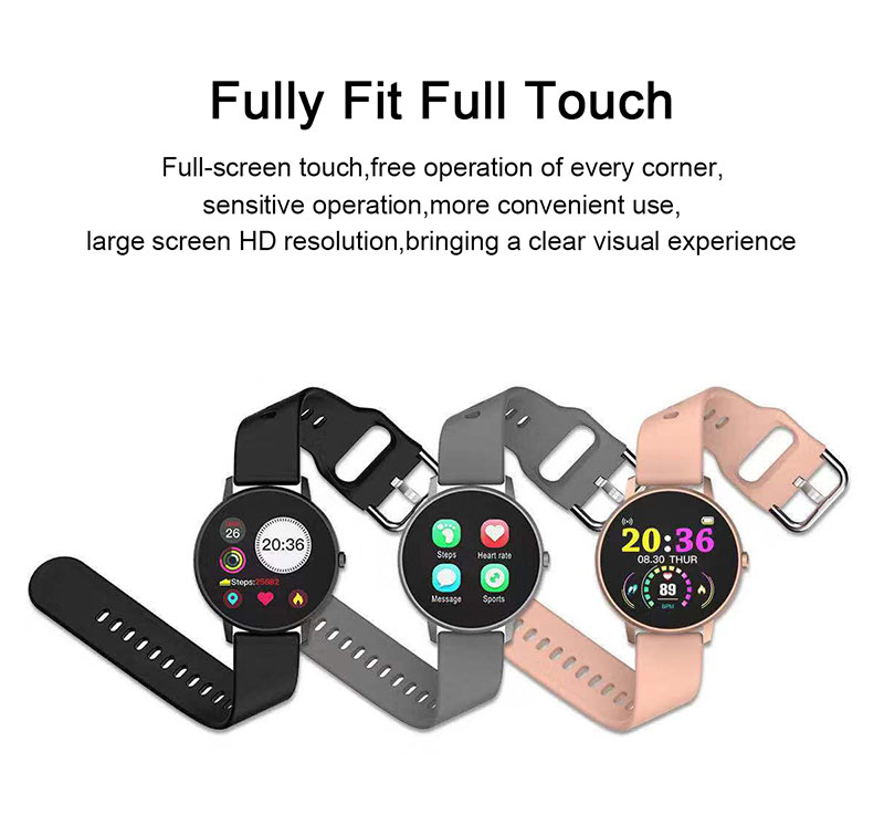 H807ca79a83ae44079699a2f93767fbbc7 2020 Full Touch Smart Watch Heart Rate Fiteness Tracker Blood Pressure
