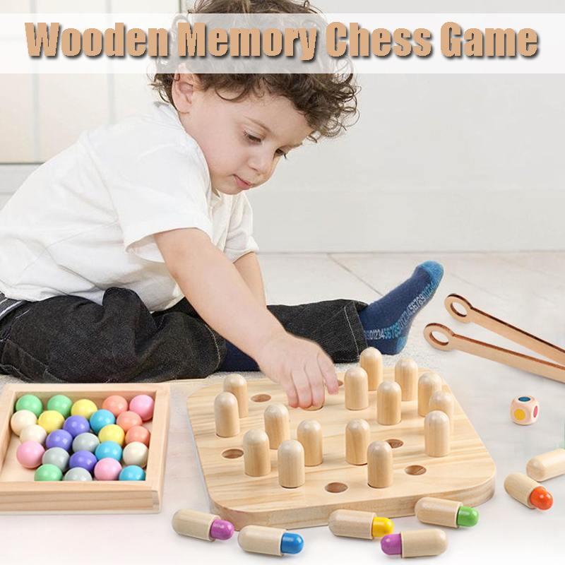 Kids Wooden Memory Chess Match Stick Chess Game 3D Puzzles Board Game Educational Color Cognitive Ability Toy Gifts image