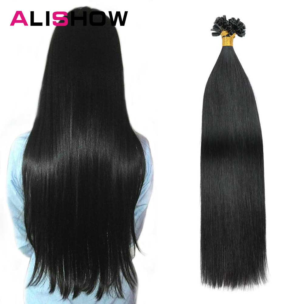 Alishow Fusion Hair Extensions 1g/Strands Remy Hair Pre Bonded Keratin Hair Extension On The Keratin Capsule Nail Hair 50s/pack