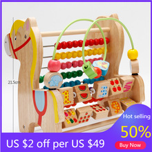 Cartoon Wood Horse Computing Frame Early Training Educational Toys Trojan Horse Round Bead Calculation One Piece Baby Block Gift