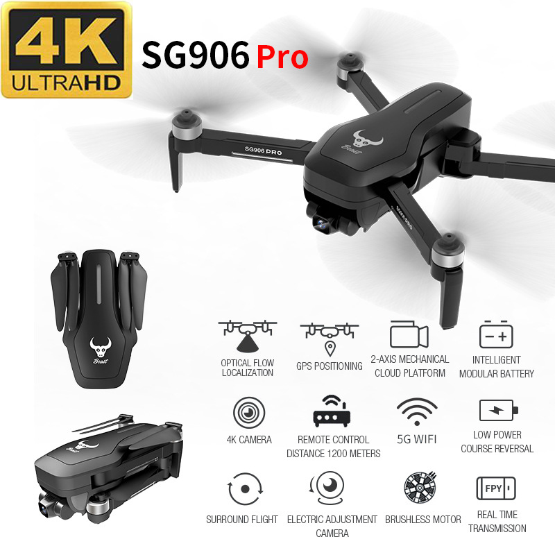 SG906 Pro Professional Aerial RC Drone 4K Wide Angle HD Foldable Quadrotor High Hold Mode GPS Wifi One Click Return Helicopter