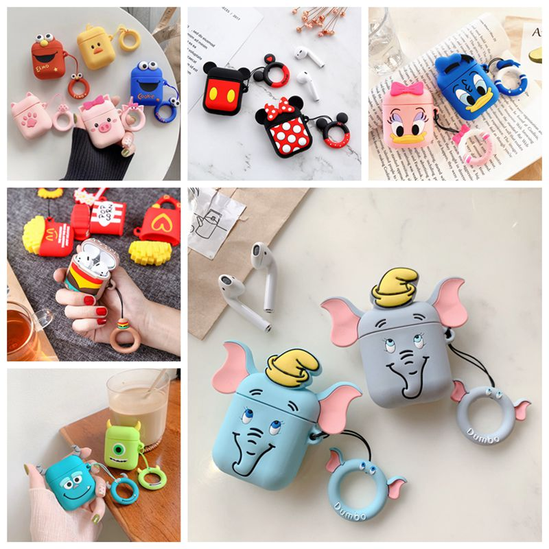 For AirPods 2 Case Cute Cartoon Mickey Wireless Bluetooth Earphone Case For IPhone Headphone Air Pods 1 Charging Box Capa Cover