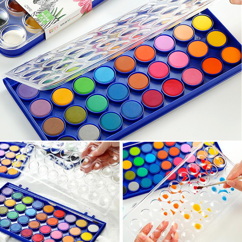 16 Colors Solid Watercolor Paint Set With Water Brush Pen Foldable Travel Water Color Pigment For Draw Drawing Toy