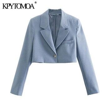 KPYTOMOA kobiety 2021 modny z jednym guzikiem przycięte Blazer płaszcz w stylu Vintage z długim rękawem damska odzież wierzchnia Chic Veste Femme