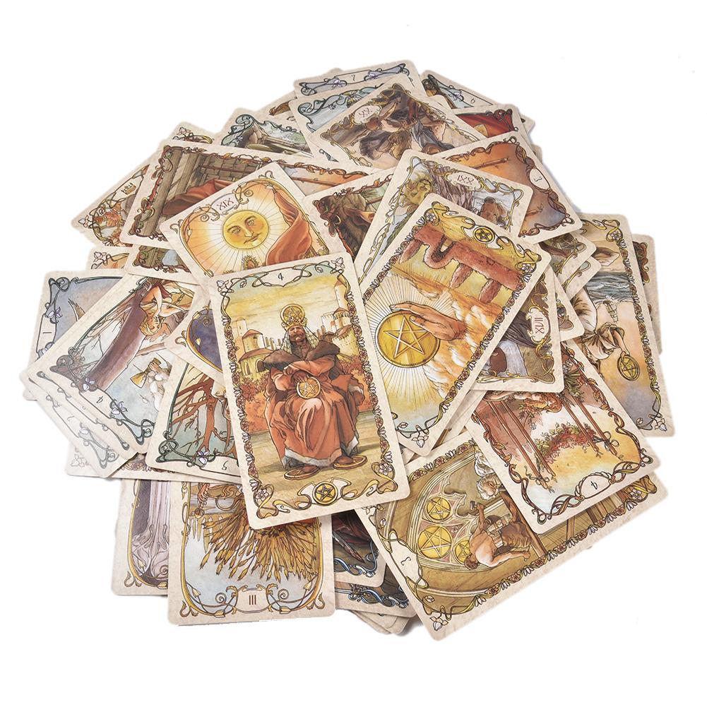 78 Tarot Mucha Tarot Cards Board Game Card Deck For Family Gathering Party Playing Cards