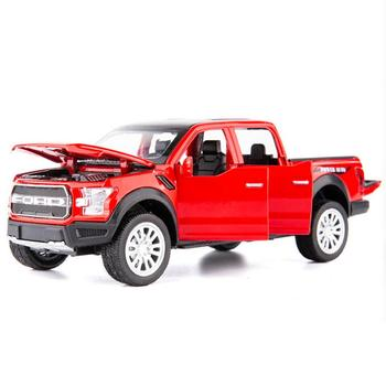 Hot scale 1:32 wheels diecast car Ford ranger RAPTOR Pickup truck metal model with light sound pull back vehicle alloy toys 1 43 scale mini yat ming classic 1957 ford ranchero falcon fairlane coupe metal die cast pickup pick up truck van car model kids