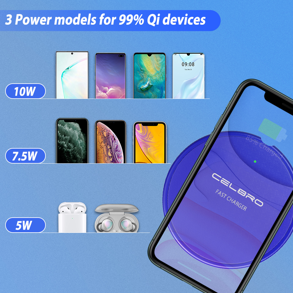 Image 5 - Wireless Phone Charger Mobile Phone Wireless Charge Pad QI Wireless Charger Compact MINI Chage pad for iPhone 11 Pro Max XiaomiWireless Chargers   -