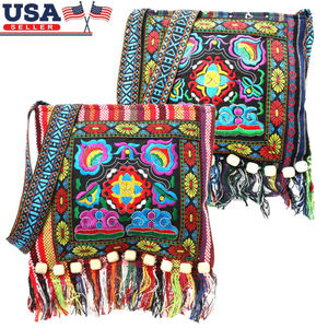 Hmong Vintage Chinese National Style Ethnic Shoulder Bag Traditional Embroidery Boho Hippie Tassel Tote Messenger