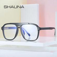 SHAUNA-remaches de luz azul para mujer y hombre, TR90 bisagra de resorte, marco de gafas cuadradas Retro, Marcos ópticos, brazo de alambre de acero inoxidable