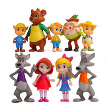 9pcs/set Goldie and Bear Goldilocks the Three Bears Big bad wolf Little Red Riding Hood Fairy Tale Forest Friends model toy