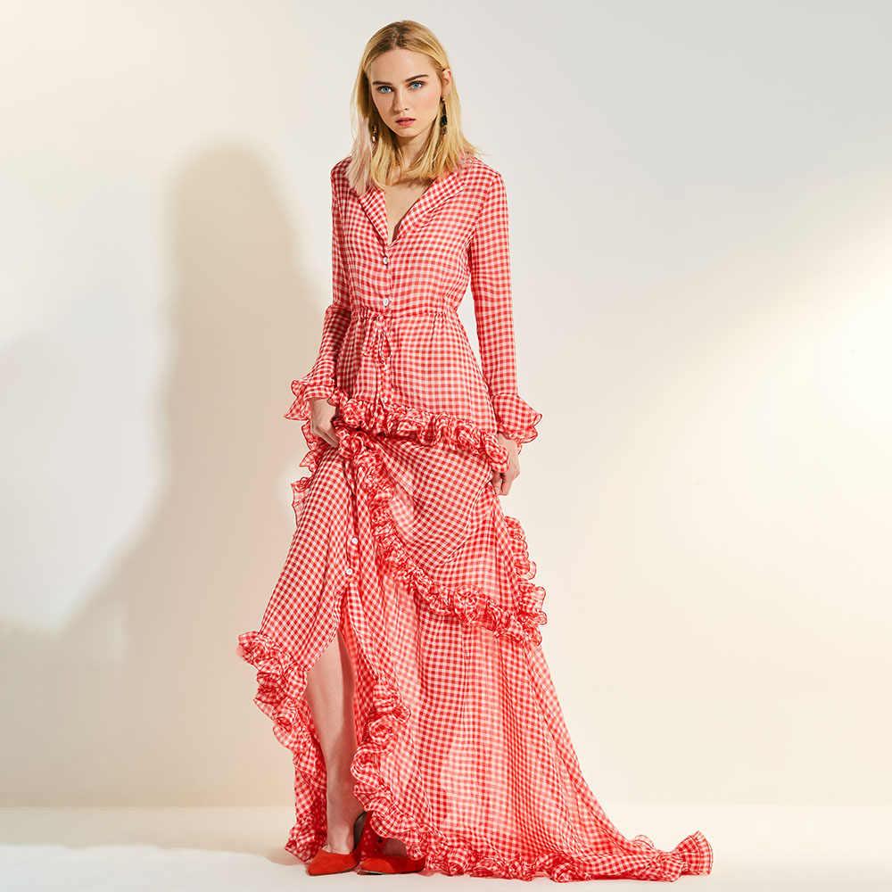 Сезон: весна–лето Розовый и красный цвет плед Многоуровневая удлиненные асимметричное платье рюшами пояс Для женщин Сексуальная нагрудные Глубокий V партия Макси платья платье