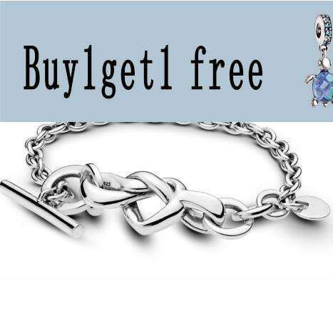 925 стерлингового серебра ПАН браслет узлом сердца с Т-образным застежка ссылка Браслет Fit для женщин из бисера браслеты с подвесками, модное ...